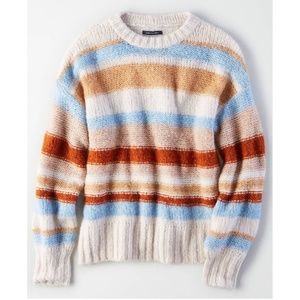 American Eagle Thick Striped Tan Blue Sweater